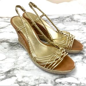 Cole Haan Andra Sahara Gold Braided Wedge Sandals